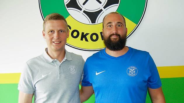 Trenér Baníku Sokolov Jiří Štěpán (vpravo).