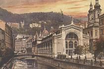 Původní Vřídelní kolonáda v Karlových Varech.