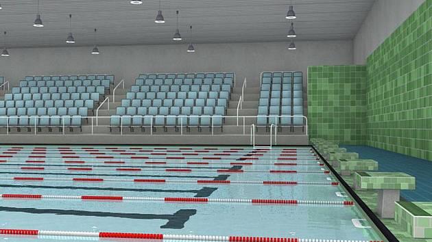 Vizualizace bazénu, který chce město vybudovat vedle KV Areny nákladem 300 milionů korun.