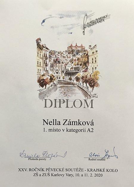 Nella Zámková obhájila zlato na pěvecké soutěži
