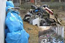 PŘED, A PO. U garáží v Dlouhé ulici potrestaní pracovali v únoru. Vlevo situace před úklidem, vpravo (na vložené fotografii) po. Od začátku roku spotřebovali pracovníci osm set pytlů na odpadky.