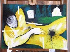 OBRAZ HELENY ČUBOVÉ s názvem Soupiží je součástí výstavy Ženské v(j)eci. Jedná se o malbu a kresbu.