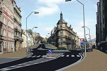 Vizualizace Sokolovské. Po kompletním dokončení oprav by měla mít Sokolovská ulice v Karlových Varech tento vzhled. Ukončení prací je zatím stanoveno na červen letošního roku.