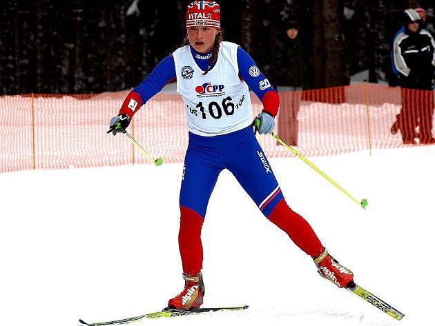 Královna bílé stopy. Hvězdou uplynulého lyžařského víkendu se stala dvakrát zlatá starší dorostenka Slovanu Karlovy Vary Petra Nováková.