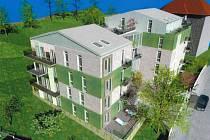 Studie bytového dům Green Point, který chce firma Baustav postavit v Křižíkově ulici.