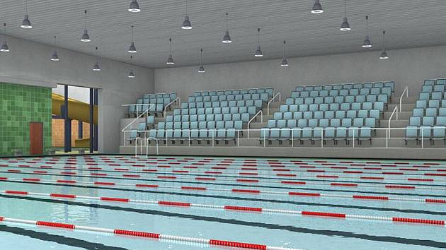 Vizualizace bazénu u karlovarské multifunkční haly.