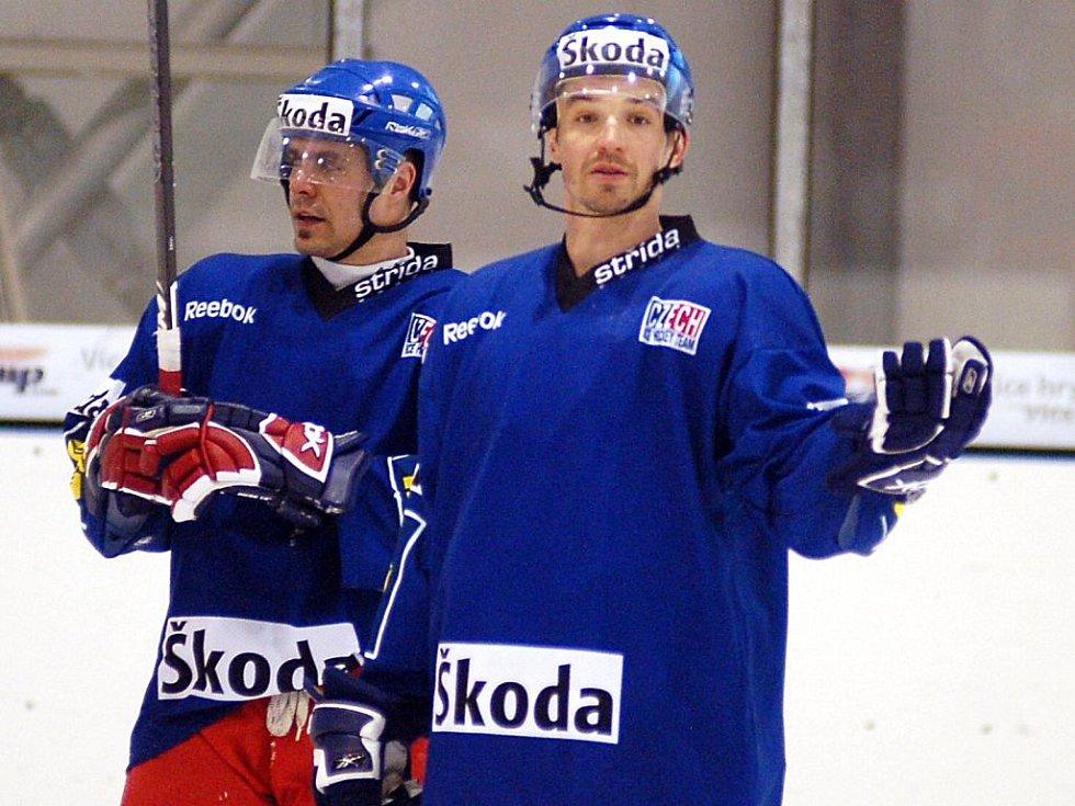 Trénink hokejové reprezentace ČR v Ostrově před přátelským utkáním s reprezentací Německa v Ingolstadtu.
