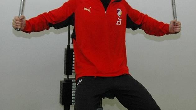 Brankář Viktorie Plzeň Michal Daněk absolvoval po návratu z Anglie sobotní trénink v posilovně stadionu ve Štruncových sadech.