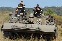 Hasičské cvičení ve vojenském prostoru Hradiště