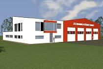 Vizualizace nové stanice záchranářů na Letišti Karlovy Vary.