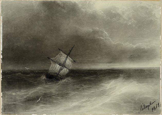 PLACHETNICE NA ROZBOUŘENÉM MOŘI, 1868. Ivan Konstantinovič Ajvazovskij, realistický malíř.