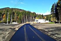Nová silnice ke spodní stanici Jáchymovské lanovky na Klínovec