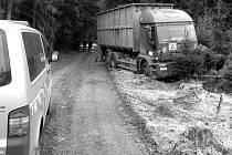 MIMO LESNÍ CESTU skončil nákladní vůz, který jeho řidič nedbale zabrzdil.