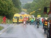U Damic na Karlovarsku se srazilo osobní auto a minibus: jeden mrtvý, dvacet jedna zraněných.