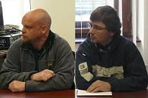 Antoník Kos (vlevo) a Vasil Koban před plzeňským soudem.