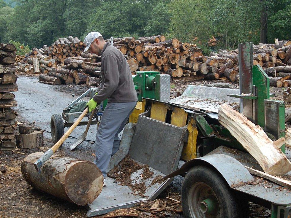 Příprava palivového dřeva v areálu Lázeňských lesů Karlovy Vary