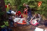 Cvičení dobrovolných hasičů ve Svatošských skalách