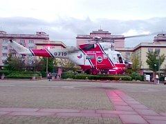 Ten přiletěl pro zraněného 15letého cyklistu, kterého se zraněním hlavy transportoval do plzeňské fakultní nemocnice.