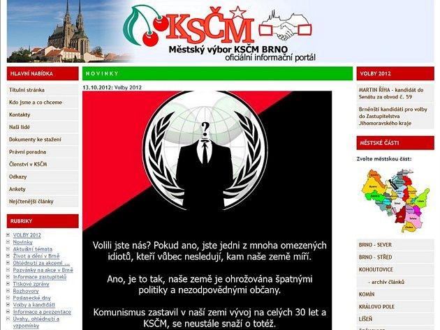 Po vyhlášení výsledků krajských voleb byly například hacknuty webové stránky brněnské KSČM.