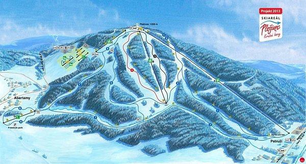 Projekt skiareálu na Plešivci.