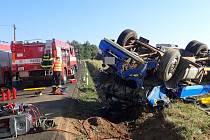 Místo nehody nákladního automobilu.