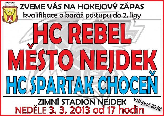 Rebelové přivítají Spartak Choceň.