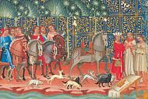 Obraz z Dalimilovy kroniky. Kníže Oldřich se setkává se svou pozdější manželkou Boženou.
