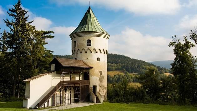 Pozůstatky hradního sídlaŠlikův hrádek v Jáchymově.