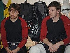 Z tréninku karlovarských hokejistů před začátkem finálových zápasů.