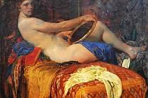 Děvče s kulatým zrcátkem, 1913 až 30, Galerie výtvarného umění v Hodoníně.