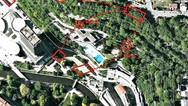 Varianty trasy lanovky, která má spojit střed města se záchytným parkovištěm v Drahovicích.
