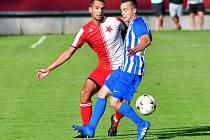 Karlovarská Slavia sice vedla v derby nad Ostrovem již 2:0, přesto nakonec uhrála pouze nerozhodný výsledek 2:2.