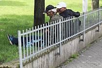 OBLÍBENÝM MÍSTEM, kde se scházejí bezdomovci, je prostranství před městskou tržnicí. Plotu, který jim měl bránit v sezení na zídce, okamžitě využili jako opěradla při polehávání na trávě.