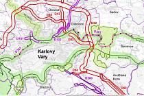 Navržený obchvat Karlových Varů, který je součástí územního rozvoje Karlovarského kraje.