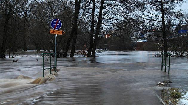 Lednová povodeň v Karlových Varech fotoaparátem Marty Čížkové