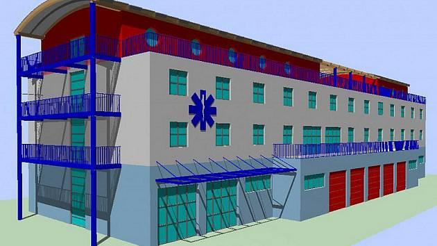 Vizualizace nové budovy Územní zdravotnické záchranné služby Karlovarského kraje. Kraj začne budovu, která bude stát 100 milionů korun, stavět již v příštím roce.