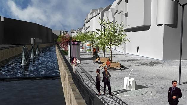 Vizualizace rekonstrukce Staré Louky a Tržiště. Budoucí podoba karlovarské pěší zóny v úseku Stará Louka – Tržiště – Lázeňská.