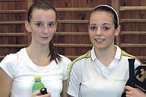 Vůbec nejúspěšnějšími hráčkami plzeňského badmintonového klání do třinácti let byly Karlovaračky Jana Panochová (vpravo) a Denisa Antošová.