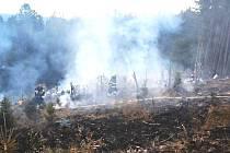 Místo rozsáhlého požáru na hranici tří krajů.