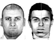 Policejní identikit dvou zlodějů, kteří okradli seniora. Vlevo vyšší, který měl podle výpovědi na očích silné dioptrické brýle, vpravo menší, oblečený do pestré bundy.