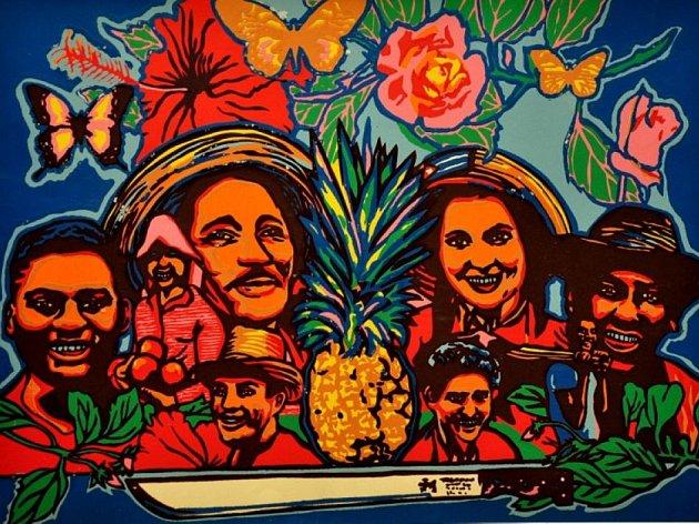 Jeden z vystavených kubánských filmových plakátů.