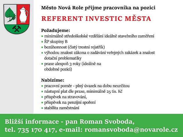Přijmeme pracovníka na pozici referent investic města, podrobnosti zde: