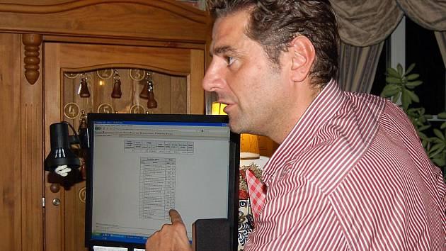 Dosavadní primátor Karlových Varů Werner Hauptmann (ODS) pozorně sledoval vývoj volebních výsledků. V závěru ho nijak nepotěšily