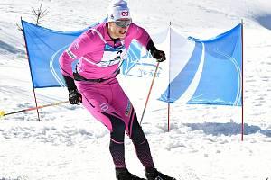 Zlatý triumf si vyjel na Božím Daru na pětačtyřicetikilometrové trati laufař v kombinéze eD system Bauer Teamu Jan Šrail.