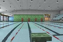 Vizualizace karlovarského bazénu. Výstavba bazénu s parkovištěm a infrastrukturou areálu u KV Arény bude stát 300 milionů korun. Na projekt získalo vedení města dotaci z Evropských fondů.