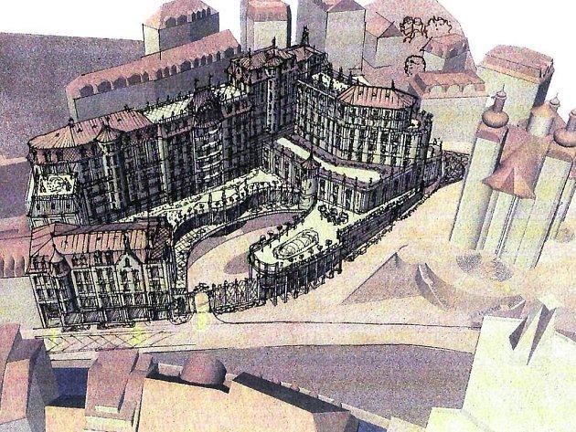 Grand Majestic. Vizualizace rozlehlého hotelového komplexu, který chce investor postavit vedle kostela sv. Maří Magdaleny.