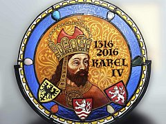 Dar městu, vitráž s Karlem IV.