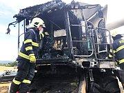 Místo požáru na poli u Protivína.