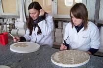 Žáci pracují na ozdobách, které budou umístěné na šaty. Výsledná roba by měla co nejvíce charakterizovat Karlovarský kraj.