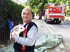 DOMÁCÍ KRÁLÍK se zatoulal do okapu pod oknem, hasiči ze stanice Mariánské Lázně ušáka zachránili a předali majitelům.